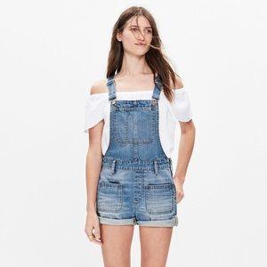 Madewell Adirondack denim overall shorts, xs